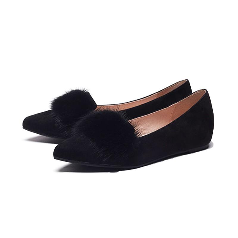Wotane 水貂毛小羊皮內增高尖頭鞋 (限量款)