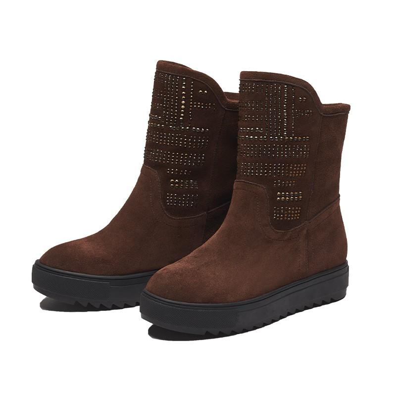 Futware牛皮手工燙鑽厚底雪地靴