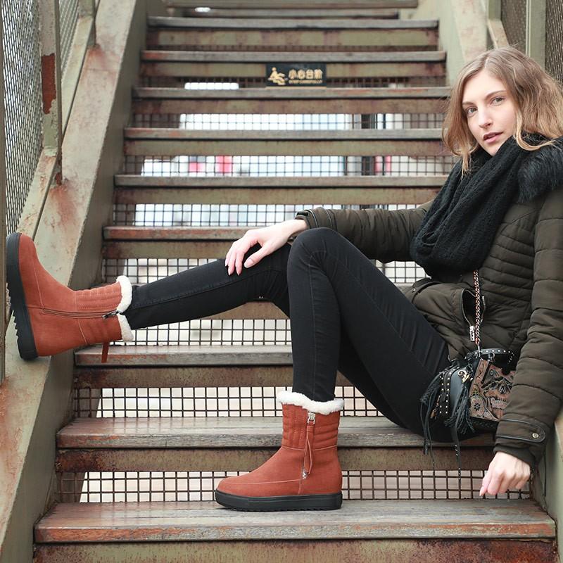 Futware 牛皮暖絨舒適短靴