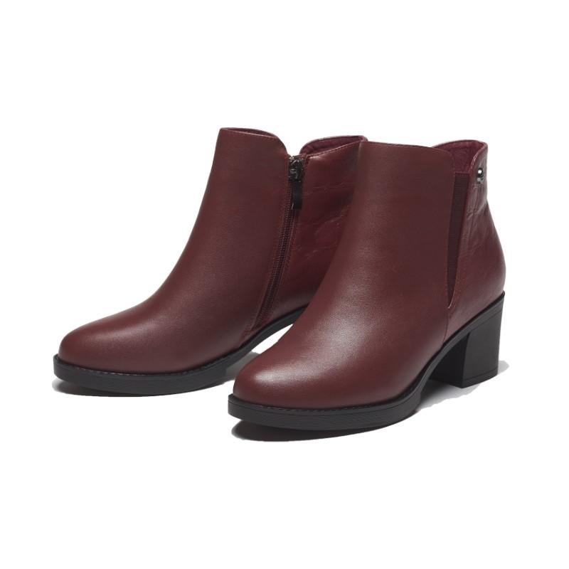 Ezies牛皮軟絨時尚短靴