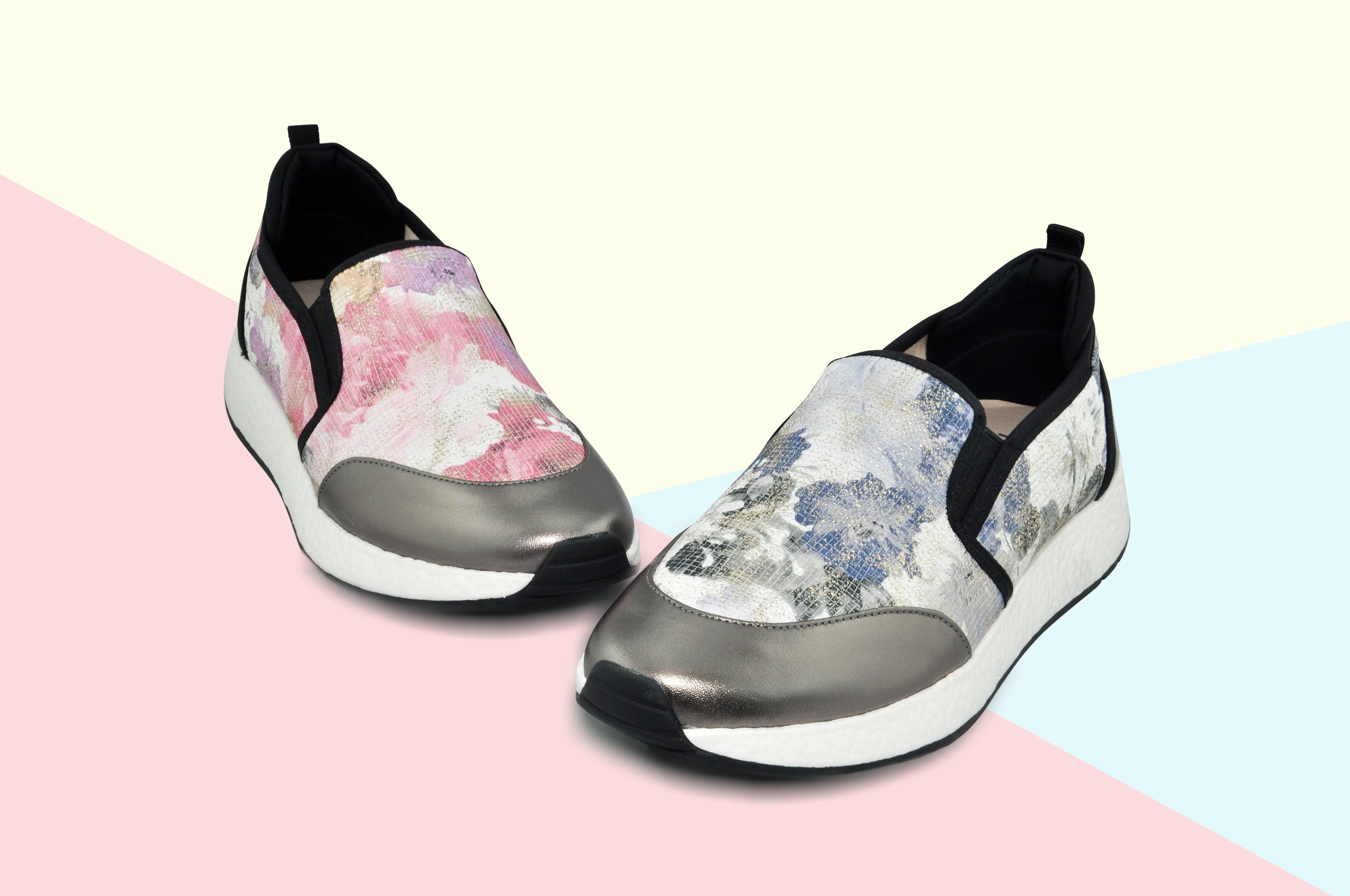 西班牙Nichious炫彩印花羊皮輕軟彈力女鞋