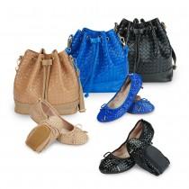 Futware 時尚編織牛漆皮女鞋