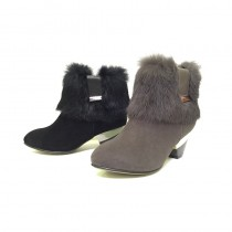 Futware 時尚羊皮兔毛低跟踝靴