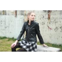 美國Crowne Comforteur 設計師精品超輕100%羊皮短版兩穿女皮衣
